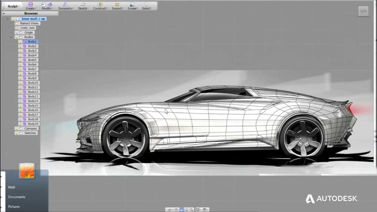 Automotive showreel schetsen concept modelleren 123d cad