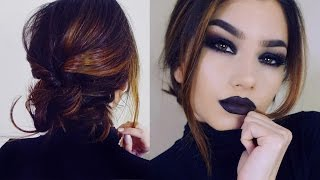 Full Coverage GOTH Makeup Tutorial! + Short Hair Braid Bun Updo!