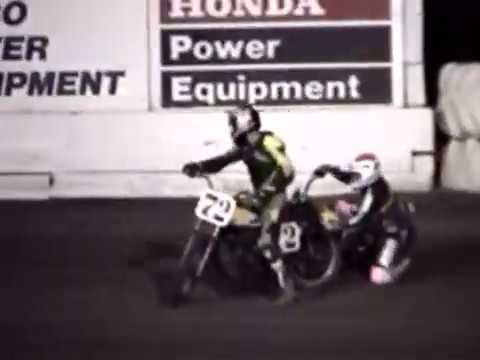 Brandon Carnahan Sr. gets a bad start and successfully holds on (to a fellow rider) to cause a restart. At the restart he seems to jump the line and gets put back ... - dirt track racing video image