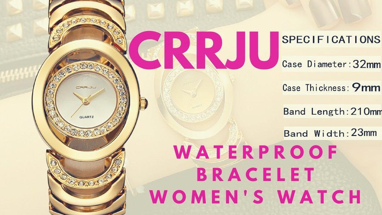 Cj2201 ➤ Bracelet Crrju Women's Gold Festival Waterproof Watch Review Steel Fashion CxsBthrQod
