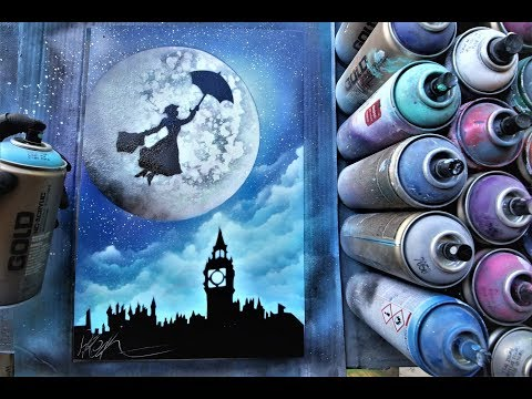 Mary Poppins GLOW IN DARK - SPRAY PAINT ART By Skech
