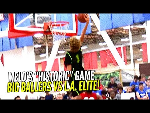 Thumbnail: LaMelo Ball's FIRST DUNK EVER & Then FLEXES On Em! Big Ballers BLOWOUT Win vs Los Angeles Elite