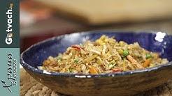 Ориз със зеленчуци и яйца на тиган