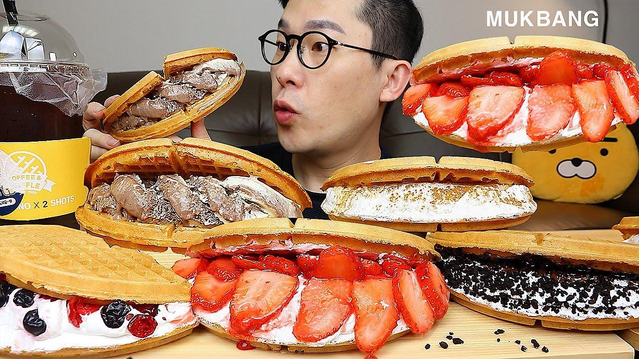 와플대학의여러가지~🧇🍦생크림듬뿍(애플시나몬,젤라또아이스,베리베리,딸기듬뿍,오레오누틀라)디저트 먹방 Waffle MUKBANG
