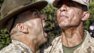 USMC Drill Instructors Inspect Recruits At Boot Camp