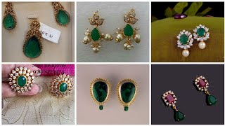 stunning designs of all type of Gold Emerald earrings/ jewellery design/top trendy jewellery