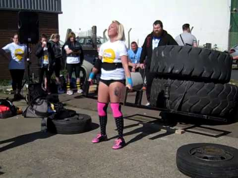 1st time novice strongwomen comp. U70's car deadlift (tractor tyres) reps in 60 seconds