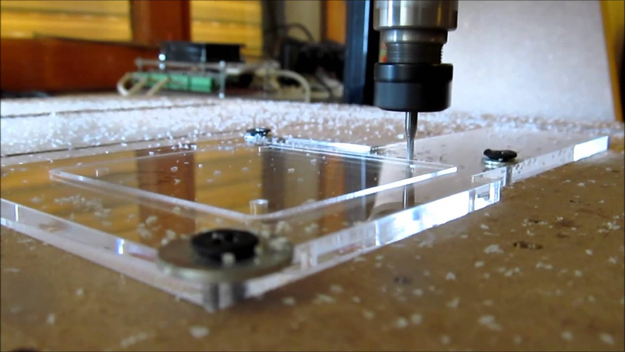 Cutting Acrylic Home Made Cnc X4 Faster Youtube