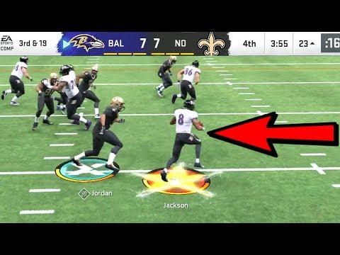 Lamar Jackson BREAKS NFL RECORD! Ravens Vs Saints Madden 20 Online Gameplay