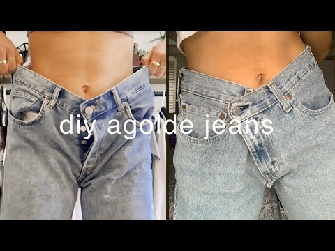 EASIEST WAY TO RESIZE JEANS | Diy Agolde Criss Cross Upsized Jean