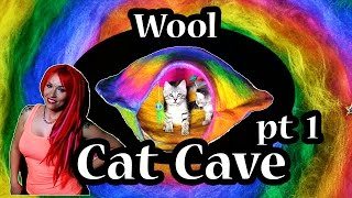No-sew Wool Cat Cave Tutorial ~ Part 1/3 ~ Tttv ~ Rainbow Ufo Cave With Alien Themed Toys