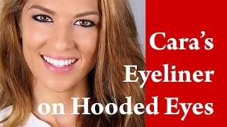 CARA DELEVINGNE cat eye flick feline EYE LINER makeup tutorial on HOODED and DOWNTURNED eye Thumbnail