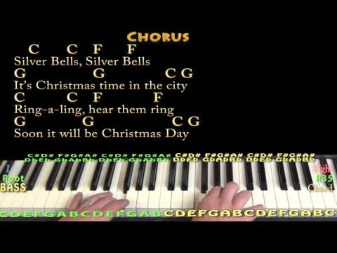Silver Bells (CHRISTMAS) Piano Cover Lesson in C with Chords/Lyrics
