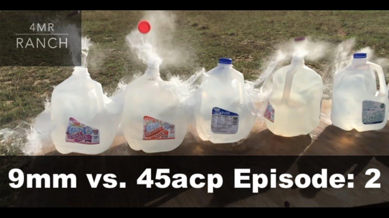 9mm vs .45acp Water Jug Penetration Test