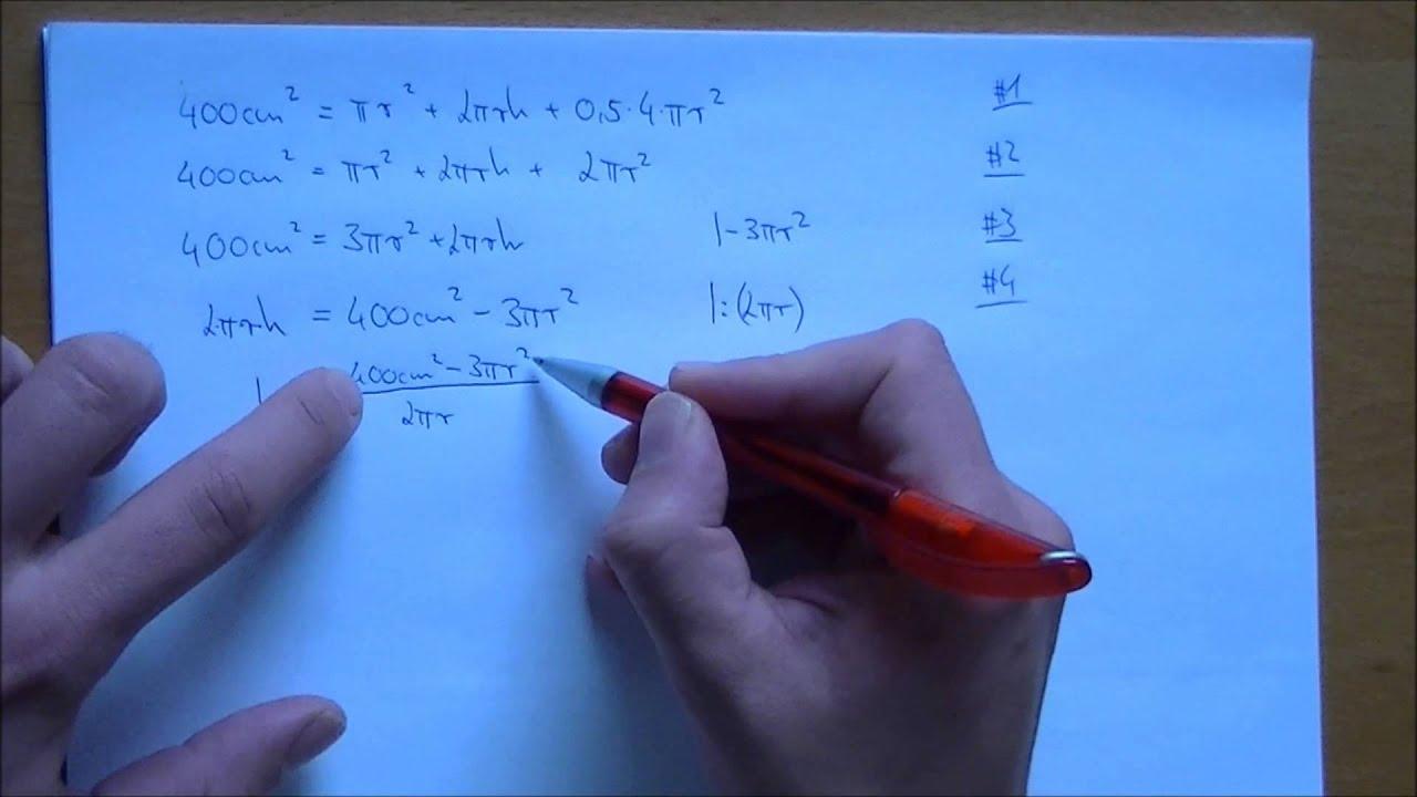 Gleichung nach h umstellen - YouTube