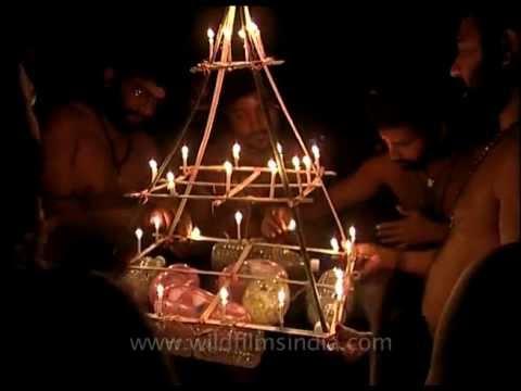 Lights for Lord Ayappan along Pamba river in Kerala