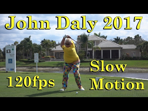 2017 JOHN DALY 120fps SLOW MOTION FACE ON DRIVER GOLF SWING 1080 HD