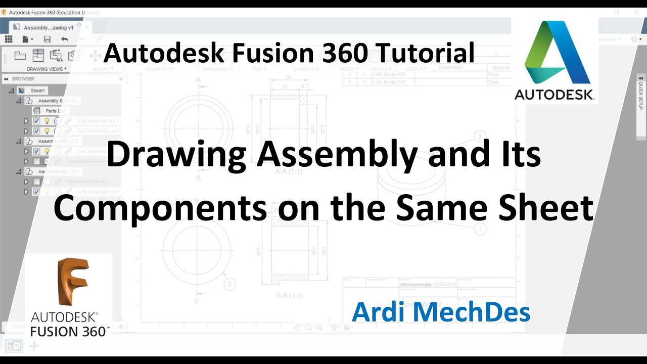 Autodesk Fusion 360 Tutorial - Drawing the Assembly and Its Components on  the Same Sheet