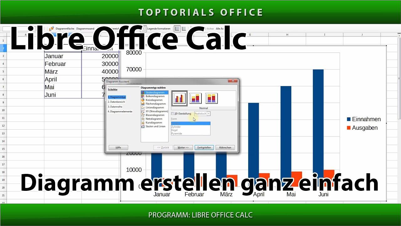 Diagramm erstellen ganz einfach (LibreOffice Calc) - YouTube