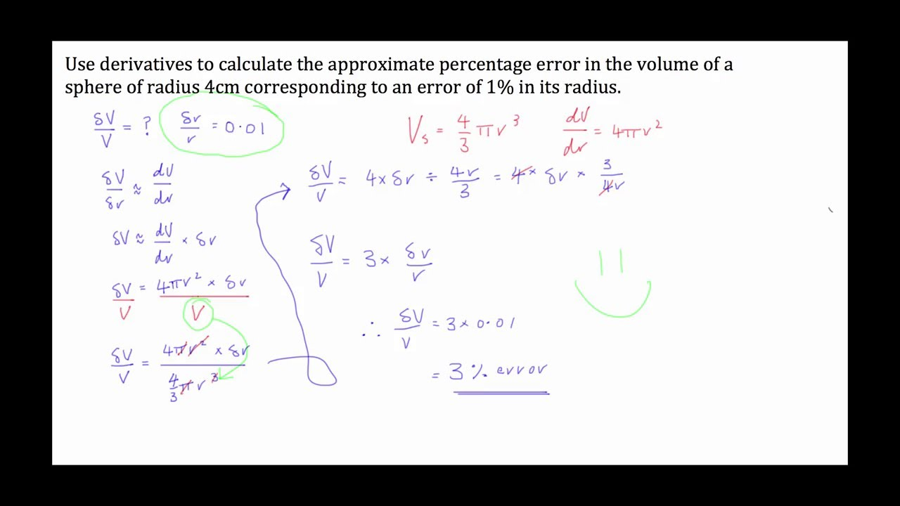 calculus - percentage error  approximation