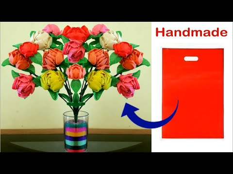 Best out of waste || Handmade Flowers using Waste Shopping Bags || DIY Room decor Idea 2018