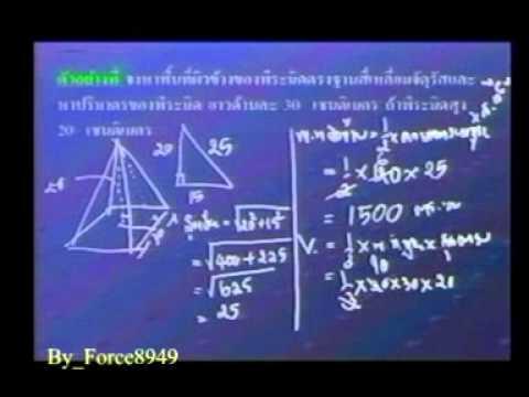 คณิตศาสตร์ ม 3 สรุป พื้นที่ผิวและปริมาตร สมการเชิงเส้น 2 ตัวแปร Force8949