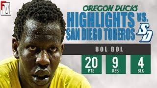 Bol Bol Oregon vs San Diego - Highlights | 12.12.18 | 20 Pts, 4 Bks, Last Game!