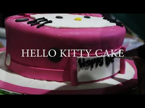 Cara Menghias Kue Hello Kitty (fondant) | How To Make Hello Kitty Cake With Fondant