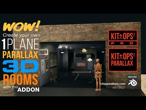 How to use KIT OPS PARALLAX to create 1-plane rooms in Blender