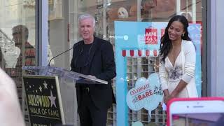James Cameron talks Avatar 2 at Zoe Saldana Hollywood Walk of Fame star ceremony