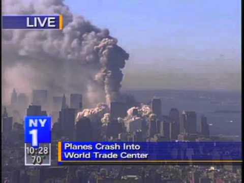 WTC Tower 1 collapse, NY1 LIVE from the Empire State Bldg. camera