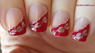 Bridal Side FRENCH MANICURE - Red & Gold Needle & Toothpick Nail Art
