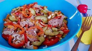 Салат из говядины с маринованным луком и корейской морковкой