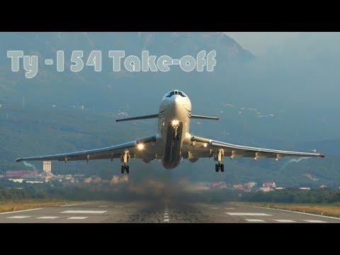 Минеральные Воды. Взлёт самолёта Ту-154 с видом на горы. БВП #5
