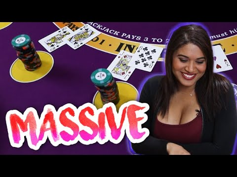 MASSIVE WIN Blackjack Live Session With Cocktail Waitress #2