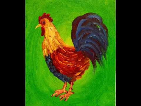 Folk Art Rooster in Acrylic