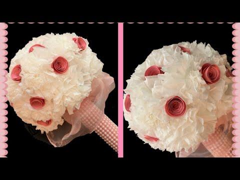 FLOWER BOUQUET with tissue paper/DIY wedding bouquet