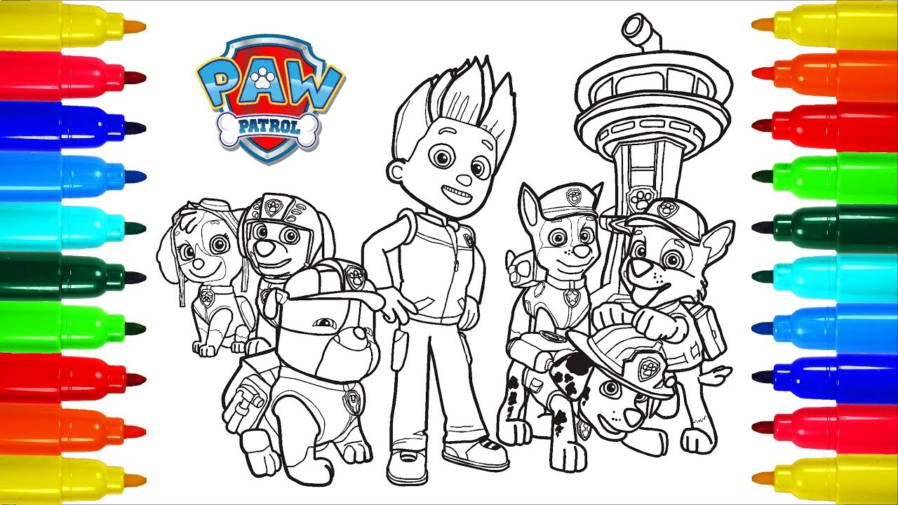 Paw Patrol 3 Coloring Pages Colouring Pages For Kids With Colored Markers Youtube