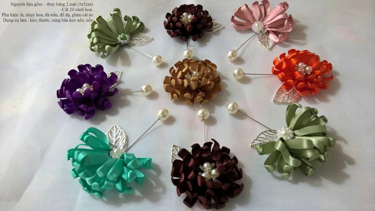 Hướng dẫn làm cài áo hoa cúc từ ruy băng( Instructions for making chrysanthemum flower from ribbon)
