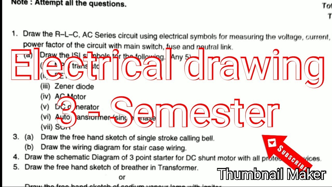 electrical engineering drawing paper 3 semester isi symbols electrical [ 1280 x 720 Pixel ]