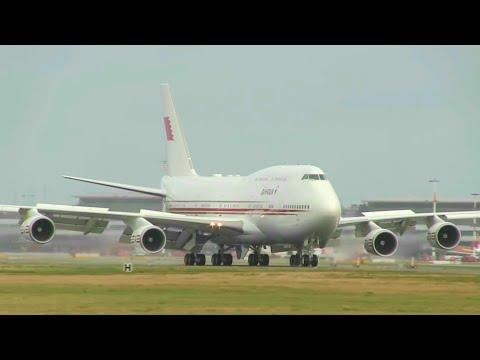 ᴴᴰ ✈ Sheikh! B747-4P8 Bahrain Royal Flight LANDING @ Hamburg