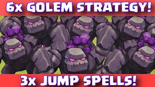 Clash Of Clans 6 GOLEMS + 3 JUMP SPELLS ATTACK STRATEGY | Titan League Trophy Pushing