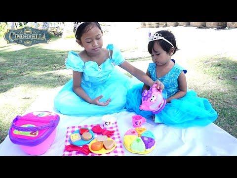 Princess CINDERELLA & Sister 💖 Mainan Anak Picnic Basket & Tea Party 💖 Let's Play Jessica Jenica
