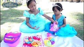 Princess CINDERELLA & Sister 💖 Mainan Anak Picnic Basket + Tea Party 💖 Let's Play Jessica Jenica