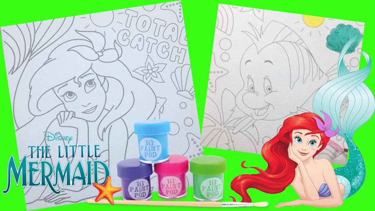 Disney Princess Ariel Flounder Painting On Canvas The Little Mermaid Coloring Pages For Kids Youtube