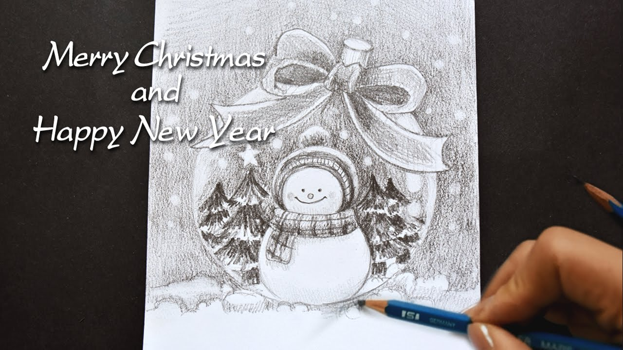 How to draw new years picture with pencil