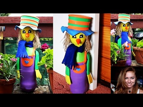 DIY - recycling - How to make a scarecrow from plastic bottles for garden or as doorstop