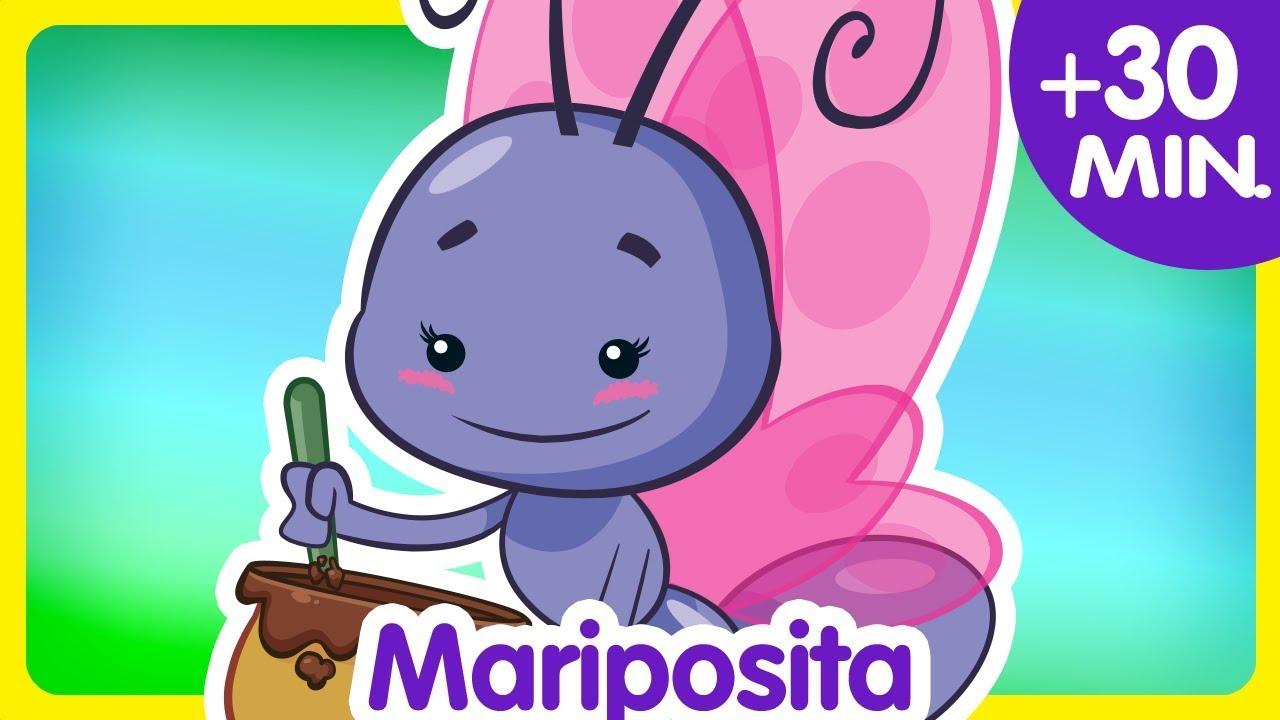 Ver MARIPOSITA + Compilado de Clips 30 min. enganchados –  Canciones infantiles de la Gallina Pintadita en Español