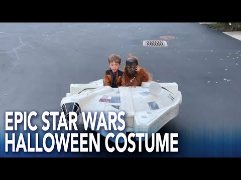 Bob Delmont - Dad build Star Wars ship for his sons to go trick or treating !