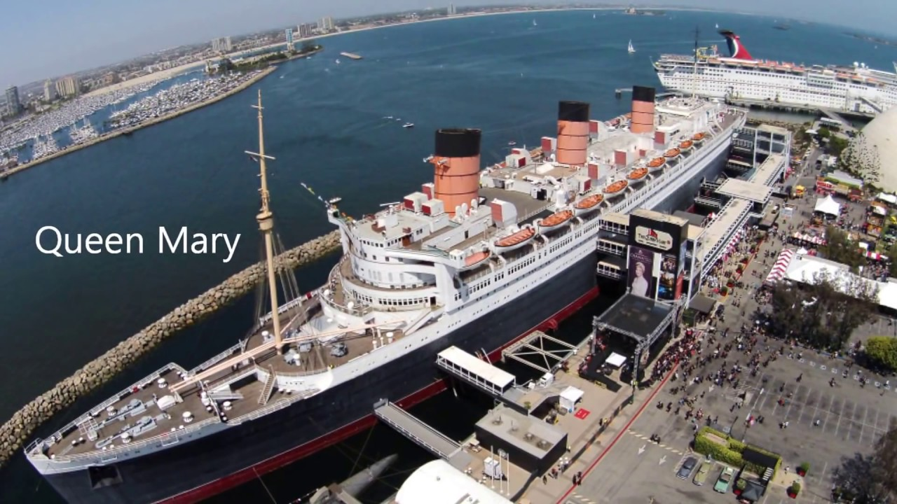 Rms Queen Mary Long Beach Ca Birds Eye View Drone Footage Sky Cam